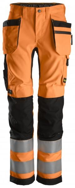 AllroundWork, Damen-High-Vis-Hose+ mit Holstertaschen, Warnschutzklasse 2